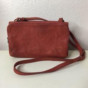 Madewell twin pouch leather orange crossbody purse